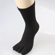 New Mens Black Five Finger Toes Cotton Socks Sports Breathable Solid Color Soft