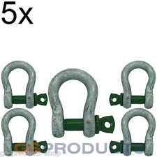 5x 4.75 tonnes Galvanised Steel Green Screw Pin Safety Bow Shackle