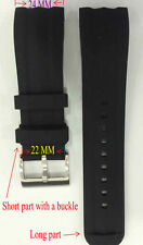 One Men Black Silicone Band Fit/Nautica Watch N18599G A18599G NST 101 24 mm New