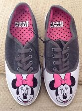 NEW DISNEY MINNIE MOUSE LACE UP SNEAKERS ADULT 8 SOLD OUT GRAY WHITE PINK BOWS