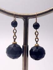 Très belles dormeuses pendants d'oreilles anciennes or 18k perles de jais XIXe