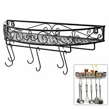 Wall Mounted Black Metal Pot Hanger Cooking Utensils Rack Kitchen Shelf Spices