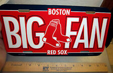 Boston Red Sox BIG FAN MLB baseball team plastic License plate, made in USA