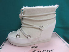 """New Juicy Couture MAREEN Lace-Up Womens Size 7 Ankle Boots White 4"""" Hidden Wedge"""