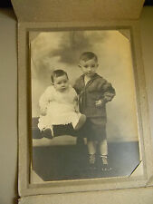 Vintage Early Century Picture of Cute Little Boy and Girl With  Foldable Frame