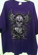 GILDAN BIG MENS PURPLE GRAPHIC SKULL ROSE WINGS T-SHIRT HEAVY COTTON TEE XL