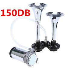 12V 150DB Loud Chrome Dual Trumpet Air Horn Compressor Kit Train Car Truck Boat#