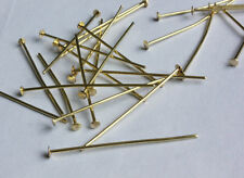 100 JEWELLERY PART 37MM head flat BRASS PIN CRYSTAL BEAD METAL CONNECTORS GD-37