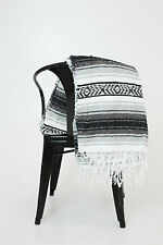 #11Black Gray Mexican Falsa Blanket Great Beach Picnic Yoga Open Road Bed Throw