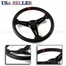 FOR CHEVY! 3-SPOKE CF PATTERN RED STITCHED 320MM 6-HOLE TRACK STEERING WHEEL DIY
