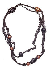 PECAN NUT NECKLACE,  BLACK & MOCHA WOVEN NECKLACE BEADED ACCENTS (ZX54)