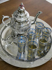 LARGE Moroccan Alpaca Silver Tea Set with Teapot, Tray & 6 BLUE Tea Glasses