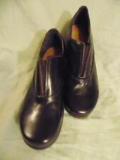 "Naot size 37 Solid Brown Leather Slip on shoe with 1 1/2"" heel /made in Israel"