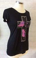 CAP SLEEVE T-SHIRT PINK CROSS & SILVER STUDS 5-6-7-8-9-10-11-12-13-14-15 years