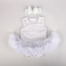 2pcs Infant Baby Girl Flower Headband+Romper Tutu Outfit Sets Clothes 0-3M White