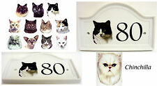 Chinchilla Cat House Door Number Plaque Ceramic Cat House Sign Any Number