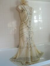COAST Vintage 1920's Cream Deco SILK Bead Sequin Charleston Flapper Gatsby Dress