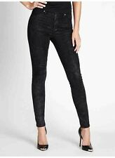 Guess 1981 High Rise Power Skinny Jeans In Landscape Wash Black Coated Size 23
