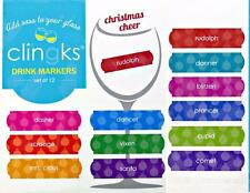 CLINGKS 12 Glass Drink Markers Clings Christmas Cheer Wine Charms Holiday NEW