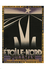 NORTH STAR RAILWAY vintage train poster a.m. cassandre FRANCE 1927 24X36 HOT