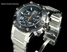 Invicta Speedway XL Black Dial Swiss Parts Chronograph Silver Bracelet Watch