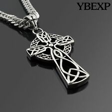 "24"" Men's Stainless Steel Silver Cuban Jesus Cross Pendant Necklace Twist Chain"