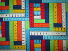 MEASURING TAPES SEWING ITEMS BRIGHT COLORS COTTON FABRIC BTHY