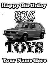 A5 Tarjeta de felicitación personalizada VW golf coche niños y sus juguetes cumpleaños PID422