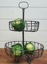 2 Tier Black Country French Provincial Wrought Iron Fruit Vegetable Basket Stand