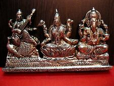 LAXMI GANESH GANESHA LAKSHMI SARASWATI BRASS STATUE~ FOR WEALTH & PROSPERITY
