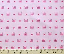 Princess and the Frog Crowns and Hearts on Pink Cotton Fabric Print D775.31