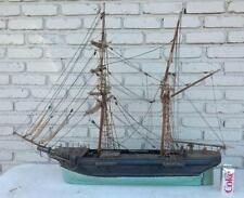 "EARLY 39"" LONG SAILBOAT MODEL IN OLD GREEN & BLACK PAINT, FROM OLD B... Lot 3639"