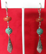 Pair of Antique Chinese Silver, Turquoise and Coral Earrings