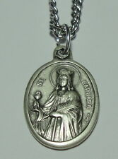 """St Barbara Holy Medal on 24"""" Chain Patron of Firefighters Explosives Geologists"""