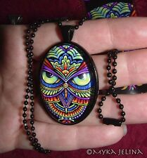 Owl Art Psychedelic Rainbow Trippy Hippie Cameo Necklace Glass Pendant Owleister