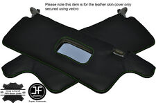 GREEN STITCHING 2X SUN VISORS LEATHER COVERS FITS HONDA CRX 1988-1991