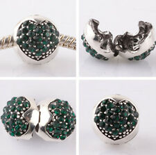 1pcs silver love ball Hole green CZ snap beads fit Charm European Bracelet HH959