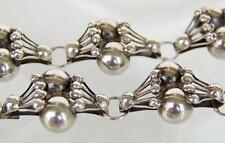 1930s 1940s Art Deco Modernist Taxco Mexico Fan Cluster Ball Sterling Bracelet