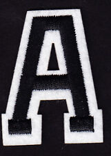 """LETTERS -  2"""" Black & White Letter  """"A""""  - Iron On Embroidered  Applique"""