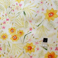 Dena Designs F003 Sunshine Jasmine White Linen Fabric By Yard
