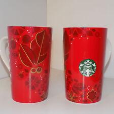 """Lof of Two (2) Starbucks 2013 Christmas Themed Coffee Mugs 16oz. """"D"""" Handle Xmas"""