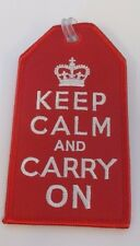 13401 KEEP CALM AND CARRY ON RED AVIATION TRAVEL FABRIC LUGGAGE BAG TAG
