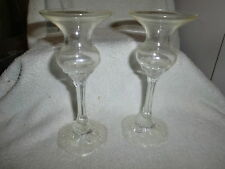 ROSENTHAL GROUP GERMANY CLASSIC ROSE GLASS  CANDLESTICKS SET OF 2