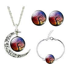 Purple Red Autumn Tree Jewellery Set Stud Earrings Moon Necklace Bracelet S899