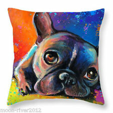 BOSTON DOG Oil Painting Colour New LINEN-COTTON CUSHION COVER Puppy, UK Sale, GB
