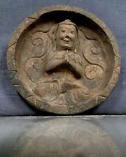 ANTIQUE / VINTAGE INDIAN HAND-CARVED, CIRCULAR SACRED BUDDHIST PLAQUE. NEPAL.