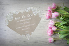 Personalised Save The Date Night Evening Cards X 50  Magnetic Lace Heart SD263