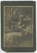 MAN READING WITH INDIAN BLANKET   COAT OF ARMS ANTIQUE PHOTO