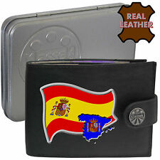 SPAIN Mens Leather Wallet SPAINISH Flag map and Emblem Mans gift España with Tin