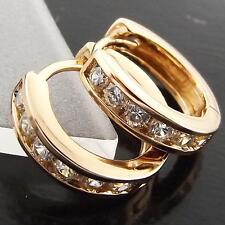 FSA008 GENUINE 18K ROSE GOLD G/F SOLID DIAMOND SIMULATED HUGGIE HOOP EARRINGS